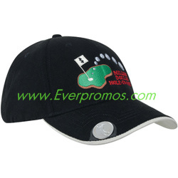 Brushed Heavy Cotton Golf Hat with Magnetic Ball Marker